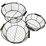 Trademark Innovations Set of 3 Wire Basket with Wooden Handles - Vintage Style