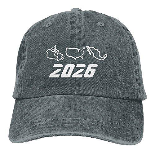 XILI-HUALA Unisex USA Canada Mexican Football World Cup 2026 Washed Denim Cotton Baseball Cap Vintage Adjustable Dad Hat Asphalt
