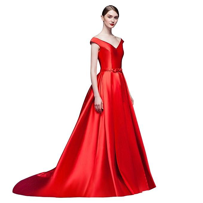 1713fa41c15c JY Women's V Neckline Red A line Women Long Dress Red Size US 4 ...
