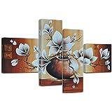"""Bilderdepot24 bastidor imagen """"magnolia M1"""" - 100x70cm 4 partes - Enmarcado listo P211"""