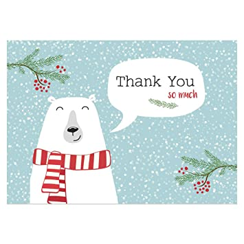 Kids Christmas Thank You Cards Festive Polar Bear Pack Of 10