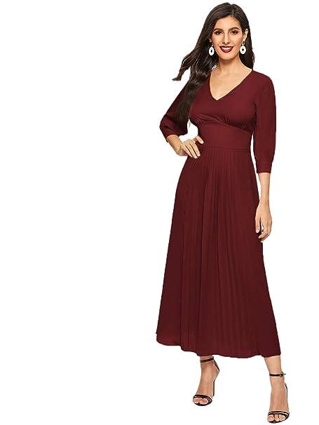 DIDK Damen Maxi Kleider Puffärmeln Elegant Faltenkleid V Ausschnitt 34 Arm Plissee Kleid
