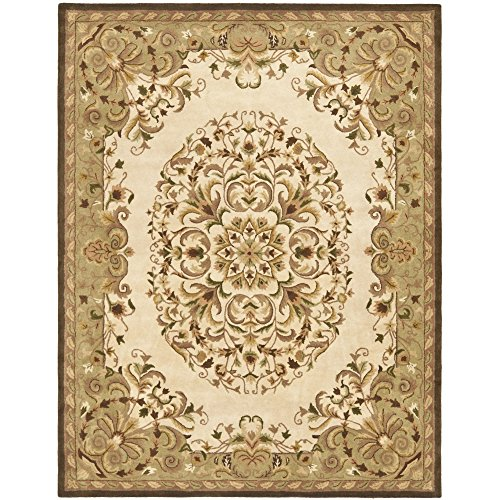 [Safavieh Heritage Collection HG640A Handmade Traditional Oriental Beige and Green Wool Area Rug (8' x 10')] (Vine Wool Area Rug)