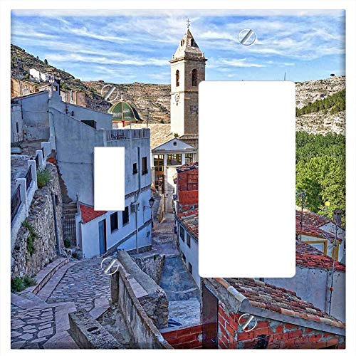 (1-Toggle 1-Rocker/GFCI Combination Wall Plate Cover - Alcala Del Jucar Hillside Village Valley Moun)