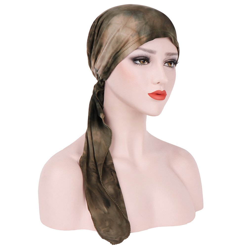 Tie-Farbstoff Turban, Damen Muslim Kopftuch Kappe Stretch Hut ...