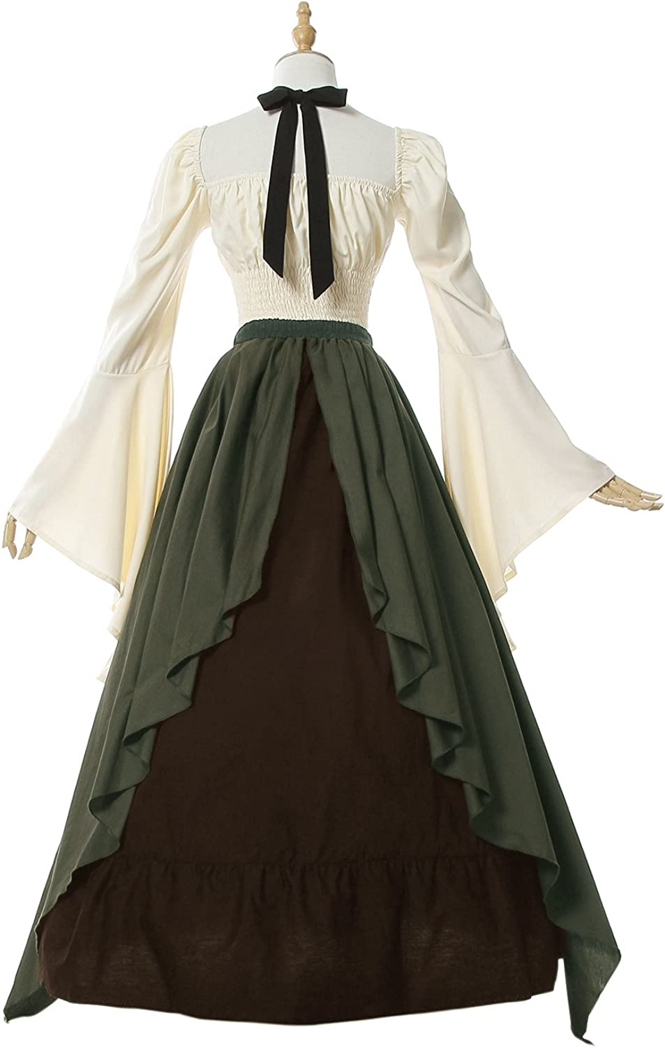 NSPSTT Victorian Dress Renaissance Costume Women Gothic Witch Dress Medieval Wedding Dress