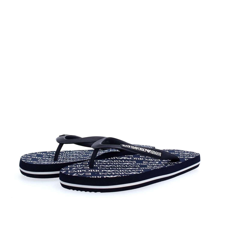 0cd36ba80fc7 Emporio Armani EA7 men s rubber flip flops sandals sea world all aver blu   Amazon.co.uk  Clothing