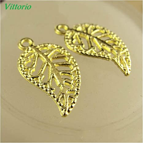 50Pcs Leaves Filigree DIY Metal Crafts Connector For Jewelry Making Accessories