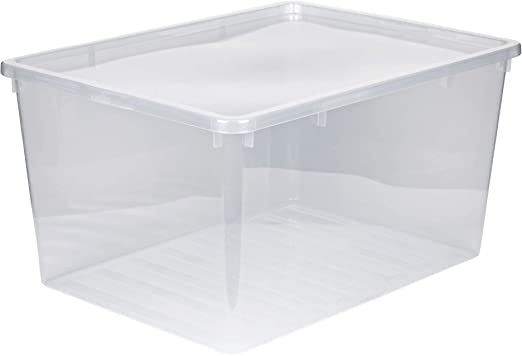 Caja XXL de plástico con tapaConstrucción transparente.Volumen ...
