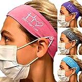 4 Pack Headbands with Buttons, Yoga Head Wraps For Face Masks Nurses Women Men Sport Hair Band Sports Headband Holder Bandann