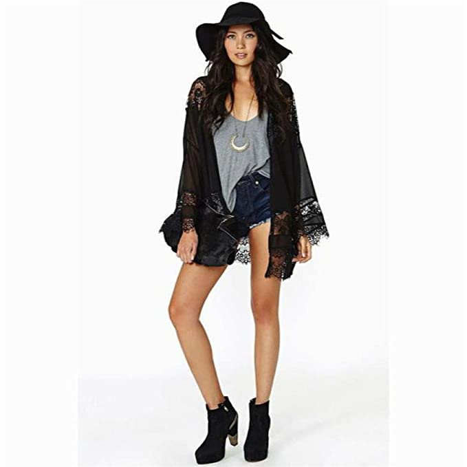 Women Chiffon Splice Sheer Long Cardigan Clothes Sun Maxi Dress Coat Jacket USA