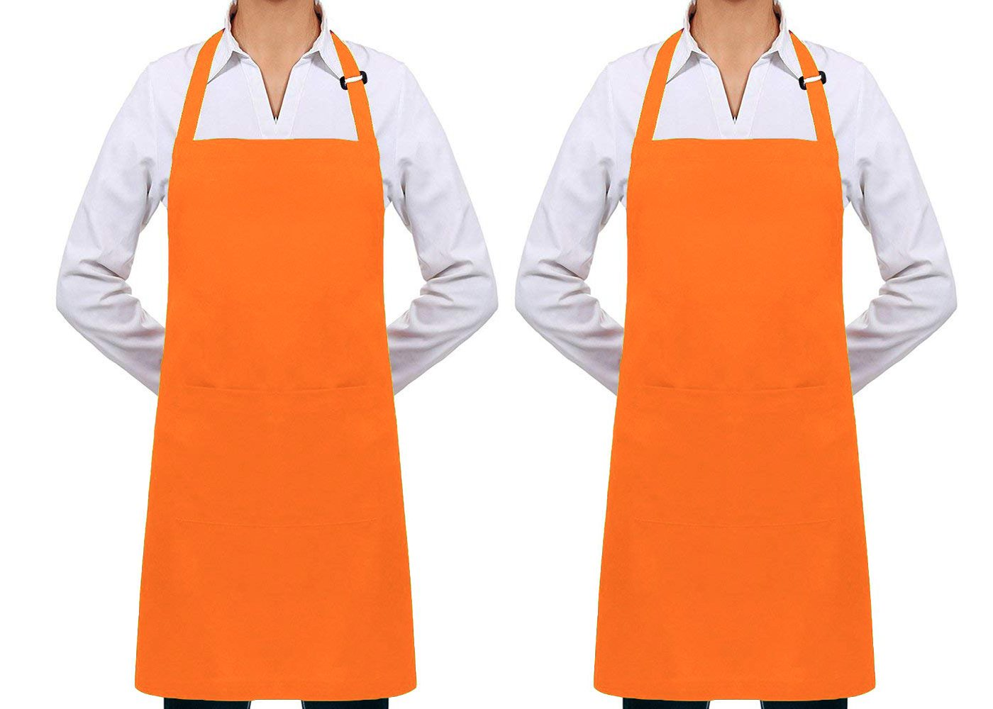 Nanooer 2 Pack Adjustable Bib Kitchen Apron with 2 Pockets Cooking Kitchen Aprons for Women Men Chef BBQ Apron - King of The Grill Barbecue (One Size, Orange)