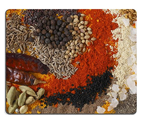 MSD Natural Rubber Gaming Mousepad Asian curry spices in the centre black pepper coriander seeds mustard cumin around that dried chillies Kashmiri chilli powder caraway saffron strands white ()