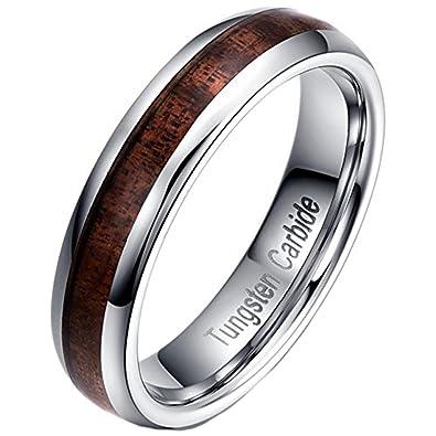 Men Women 5mm Tungsten Carbide Vintage Wedding Ring Acacia Wood