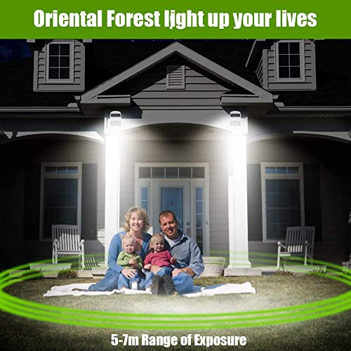 Solar Motion Sensor Light Outdoor,Oriental Forest Upgrade Wireless Fence Solar Lights LED Outdoor Wall Light Solar Powered Security Lighting for Steps,Front Door,Garage,Yard,Fences, 2 Pack White