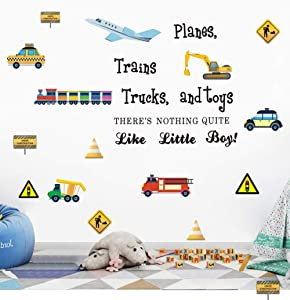Construction Transportation Wall Decals -Planes Trains Trucks and Toys There's Nothing Quite Like Little Boys Positive Quote Sticker, Boys Playroom Decor