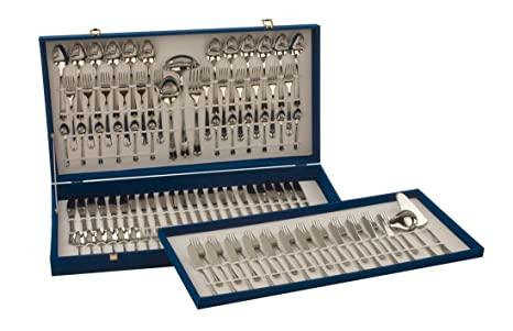 Monix London - Set 113 piezas cubiertos de acero inox 18/10 con cuchillo chuletero