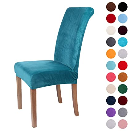 Colorxy Velvet Spandex Fabric Stretch Dining Room Chair Slipcovers Home  Decor Set Of 4, Peacock