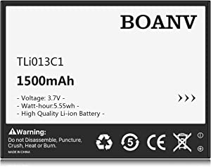 New 1500mAh TLi013C1 Battery, BOANV Replacement Battery for Alcatel One Touch Go Flip V 4051S TLi013C1 Battery 4044W, 4044T, 4044O, 4044V - 1 Year Service