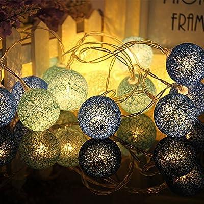 Cadena De Luces Decorativas, Chickwin Algodón Bolas Guirnalda Secuencia De La Luz Sepak De Luces Bebe Casa Dormitorio Decoración Boda Fiesta De Cumpleaños Decoración (Bolas de algodón en azul): Amazon.es: Iluminación