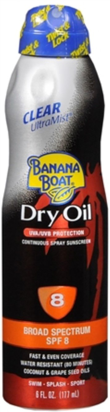 Banana Boat UltraMist Tanning Dry Oil Continuous Spray SPF 8 6 oz (Pack of 5)