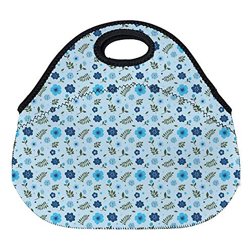 DKISEE Ditsy Aqua Large & Thick Neoprene Lunch Bags Insulated Lunch Tote Bags Cooler Warm Warm Pouch with Shoulder Strap for Women Teens Girls Kids Adults