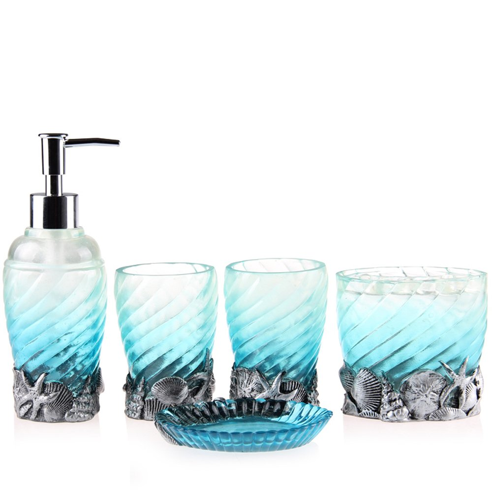 5-Piece Resin Bathroom Accessory Set with Soap Dish, Dispenser, Toothbrush Holder and Tumbler