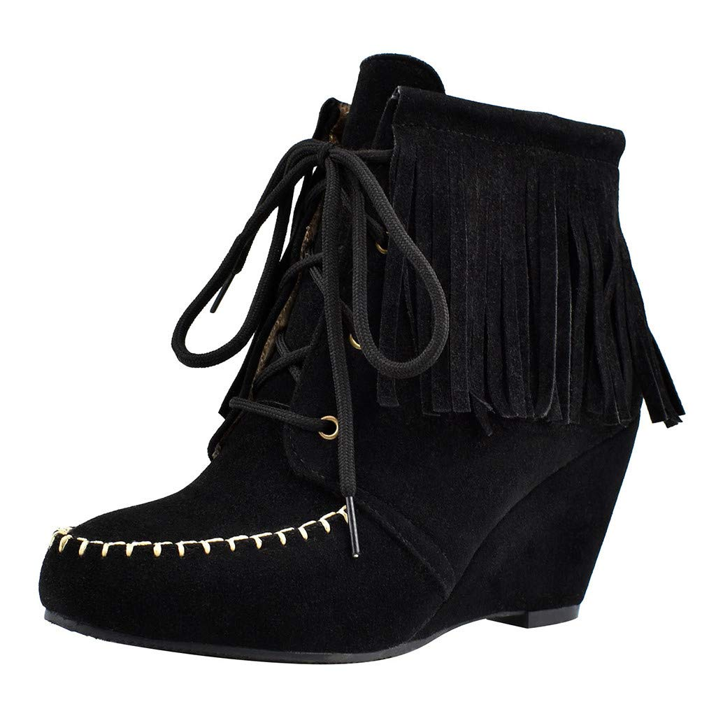 Inverlee Shoes Women's Wedges Short Boots Large Size Fringed Csual Shoes Lace-Up Ankle Booties Black