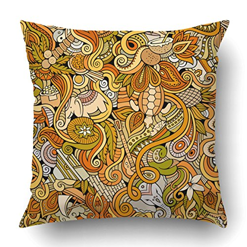 Emvency Decorative Throw Pillow Cover Case for Bedroom Couch Sofa Home Decor Cartoon doodles Indian style theme Color Square 16x16 Inches Elephant Pattern - Sri Lanka Coral