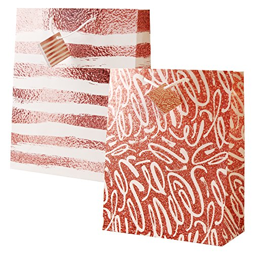 Gift Bags Rose Gold Pink Large Size 12 Piece Assortment Fat Toad