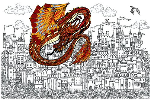 Dragon Large Poster (Great2bColorful Original Big Coloring Poster (24''x 36'') Castle Under Seige)