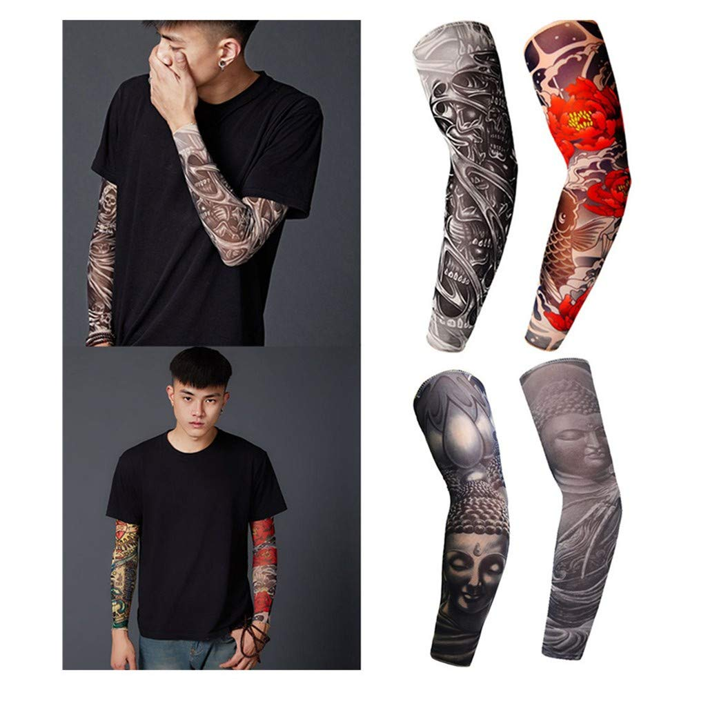 Fxbar Fashion Cool Tattoo Sleeve Sun UV Protection Stretch Arm Cover Men's Sunscreen Sleeves Cycling Sun Block Sleevelet (A) by Fxbar (Image #1)