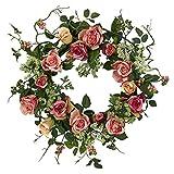 Nearly Natural 4802 Rose Wreath, 20-Inch, Peach