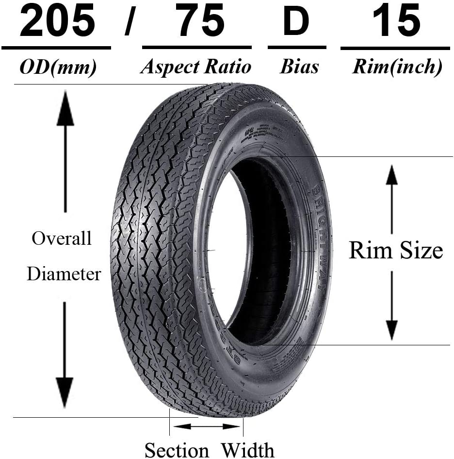 VANACC Trailer Tires 205 75 15 Radial Tire ST205//75R15 8PR Load Range D 107N Set of 2