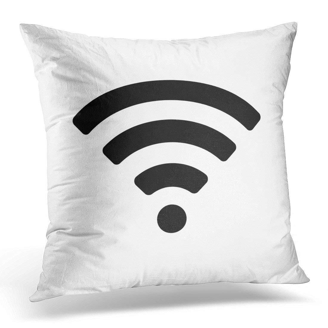 Symbol WiFi Wireless Internet Access Remote Hotspot Decorative Pillow Case Home Decor Square 18x18 Inches 45cm F. Twiggs