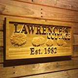 wpa0100 Name Personalized Cottage Tree Established Year Wood Engraved Wooden Sign
