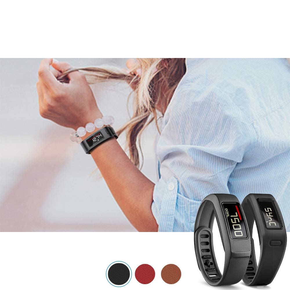 C2DJOY 2018 Metal Steel Case with Leather Bands Only for Garmin Vivofit 1 and Vivofit 2,Brown,Red,Black C2D JOY 5.8-7.3in Garmin Vivofit Case Leather Bands