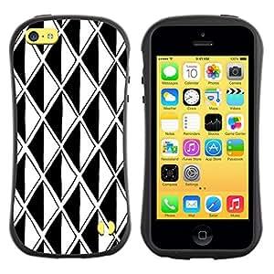 """Hypernova Slim Fit Dual Barniz Protector Caso Case Funda Para Apple iPhone 5C [Negro Ilusión Blanca Polígono óptico""""]"""
