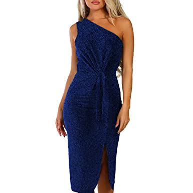 dbcb409ce87bb Womens Sexy Cold Shouder Sequins Wrap Bodycon Midi Dress Shinny Ruched  Thigh Slit Off-Shoulder Evening Party Dresses: Amazon.co.uk: Clothing