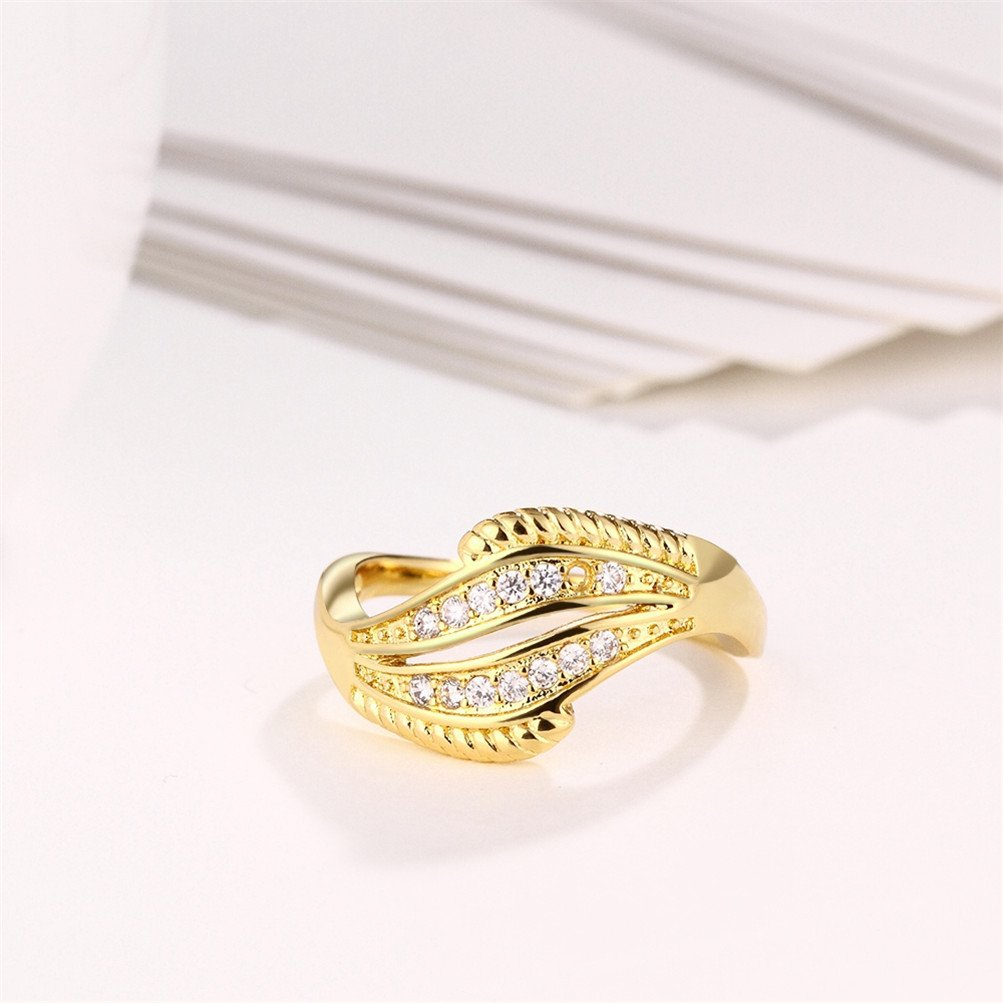 18K Gold Plated Wave Ring Wedding Band Statement Jewelry Simulated Diamond Infinity Love by Mrsrui (Image #5)