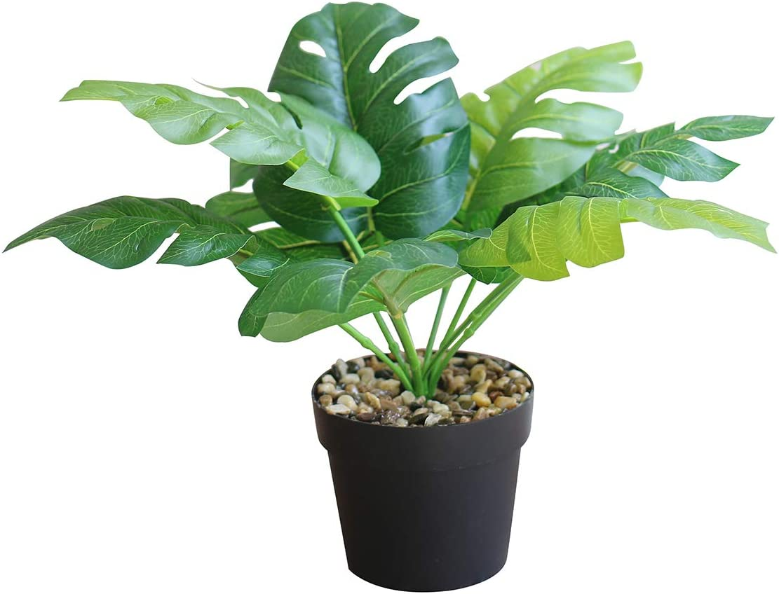 OTARTU Potted Artificial Fake Plants in Vase/Pot, Artificial Monstera Deliciosa Tropical Plants with Pot, Home Office Desk,Book Shelf Decoration (Monstera Deliciosa)