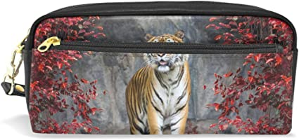Tiger - Estuche escolar para lápices, diseño de árbol rojo, gran capacidad, para maquillaje, cosméticos, oficina, viajes, bolsa: Amazon.es: Oficina y papelería