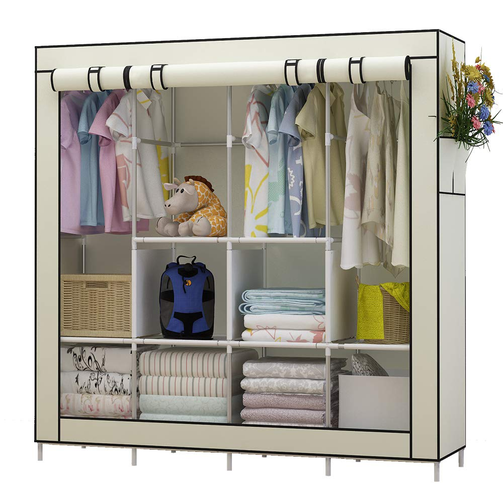 UDEAR Portable Closet Large Wardrobe Closet Clothes Organizer with 6 Storage Shelves, 4 Hanging Sections 4 Side Pockets,Black