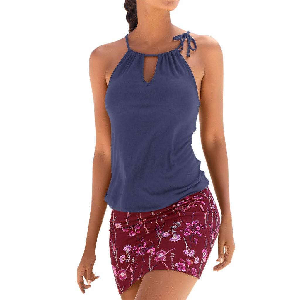 Funnygals Womens Floral Print Sleeveless O-Neck Shirt Dress Beachdress Above Knee Length One-Piece Dress for Women Plus Size