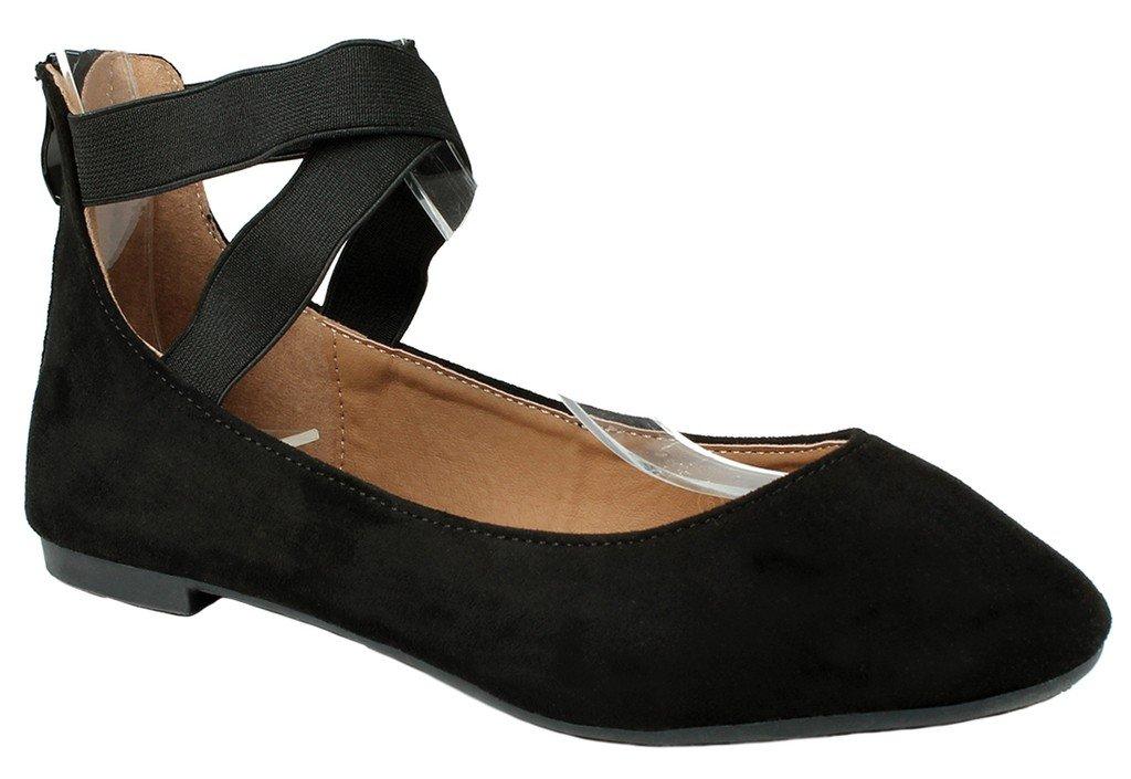 JJF Shoes Women Criss Cross Elastic Strap Round Toe Back Zip Comfort Loafer Ballet Dress Flats B01LQWG16W 6.5 B(M) US|Black Suede_20