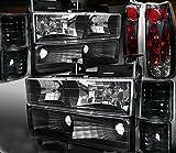 95 chevy 1500 aftermarket parts - 94-98 Chevy CK 1500/2500/3500 Silverado [10PC] Black Headlights+Smoke Tail Light