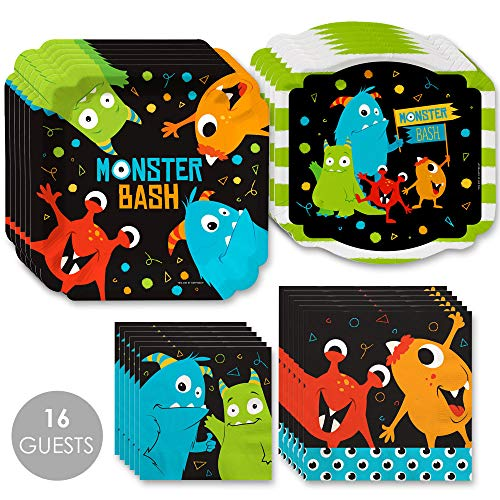Big Dot of Happiness Monster Bash - Little Monster Birthday Party or Baby Shower Tableware Plates and Napkins - Bundle for 16