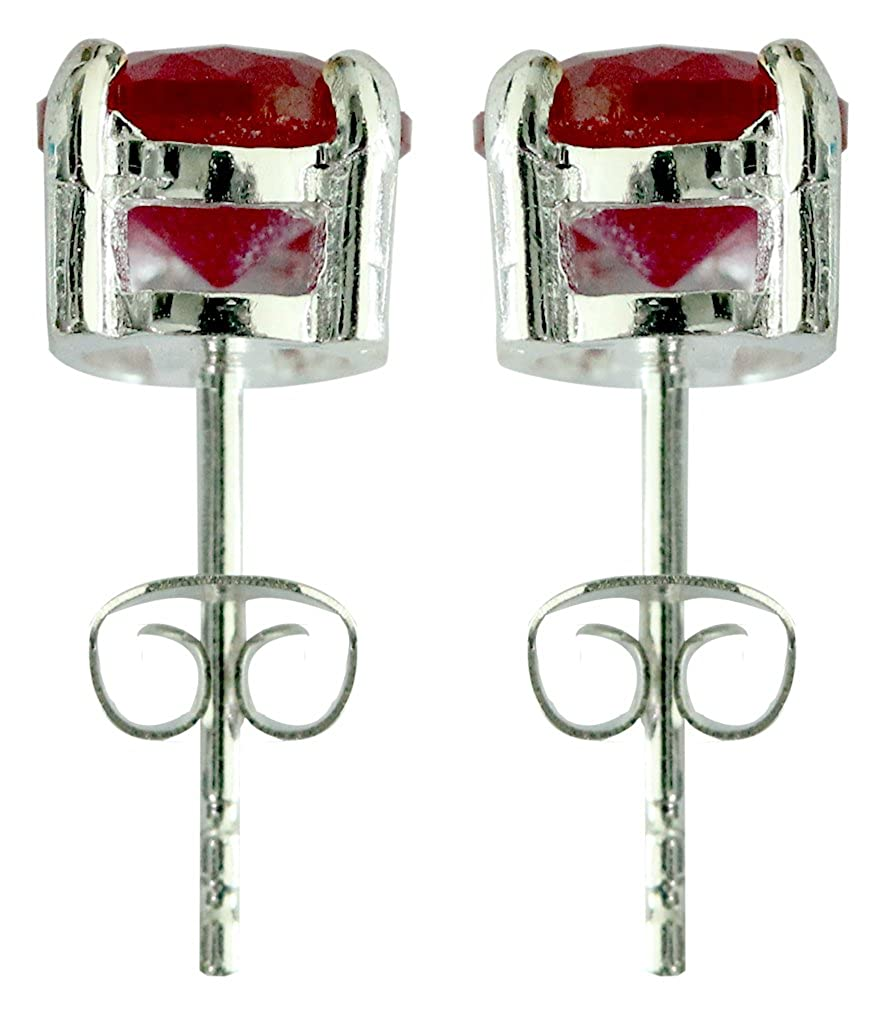 Silver solitaire round earrings with CZ Siam Red crystal