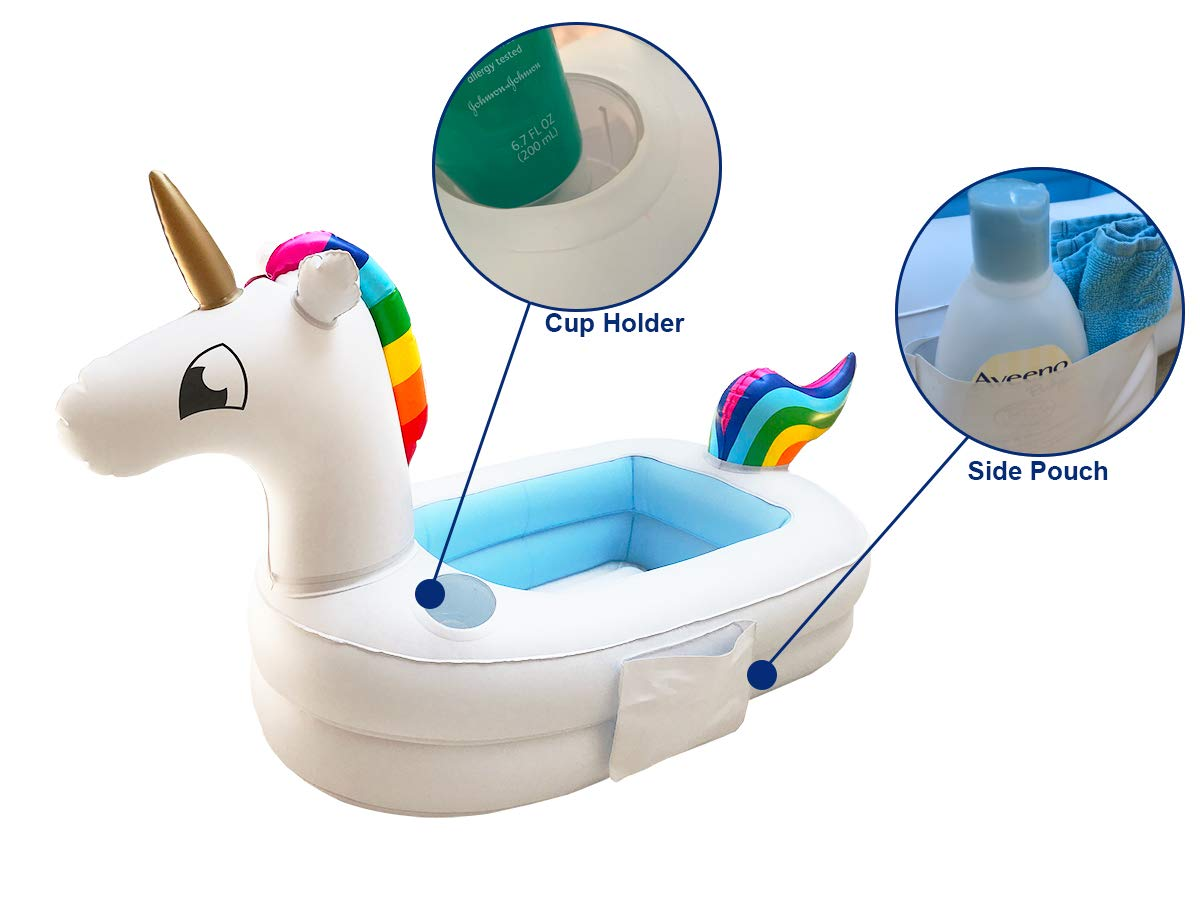Plur Baby Inflatable Bath Tub and Portable Wash,Rainbow Unicorn for Infants 6-24 Months, Inflatable Buffet Cooler, Floating Ice Chest, Baby Shower Gift and Decoration 4