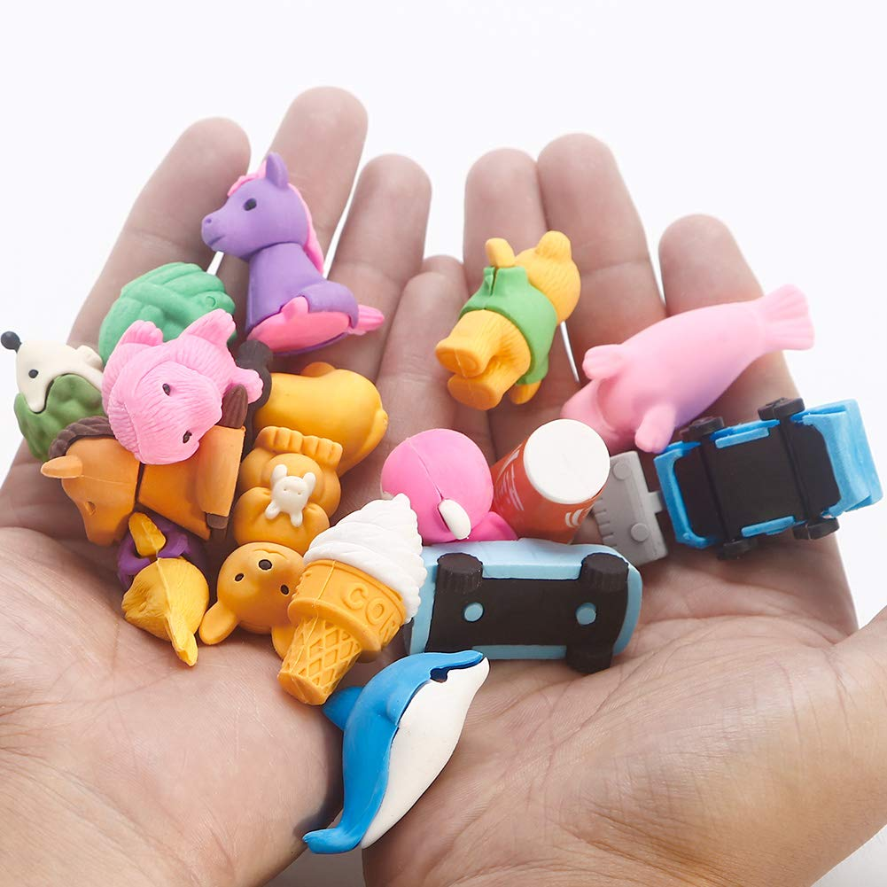 Geefia Animal Pencil Erasers, 40 Pcs Collectible Animals Food Fruits Pencil Erasers Puzzle Toys Best for Party Favors, Classroom Rewards School Supplies by Geefia (Image #5)